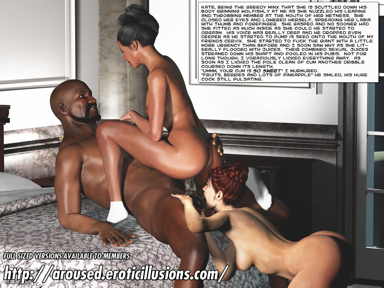 Lucky white stud gets his throbbing cock deepthroated by two black whores - 2 5